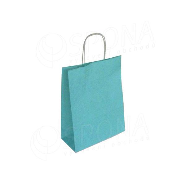 Taška papierová PASTELO, 18 + 8 x 24 cm, 100 gr., tyrkysová
