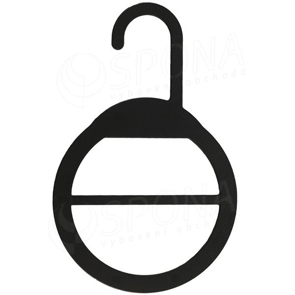 Vešiak na šatky a šále, priemer 13 cm, čierny plast