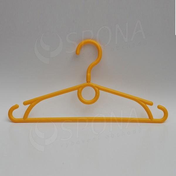 Plastový detský vešiak 32 cm, otočný hák, žltý