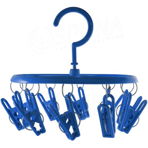 Plastový ramenový vešiak, 10 štipcov, rôzne farby