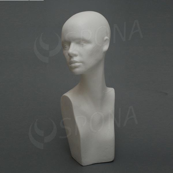 Hlava dámska IRA vysoká, polystyrén, biela
