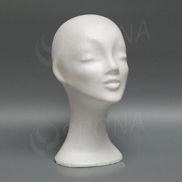 Hlava dámska DEKOR vysoká, polystyrén, biela