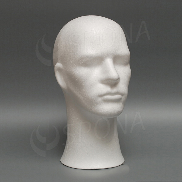 Hlava pánska PHILL polystyrén, biela