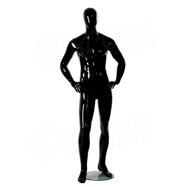 Figurína pánska Portobelle 210C, abstraktná lesklá čierna - 2. akosť