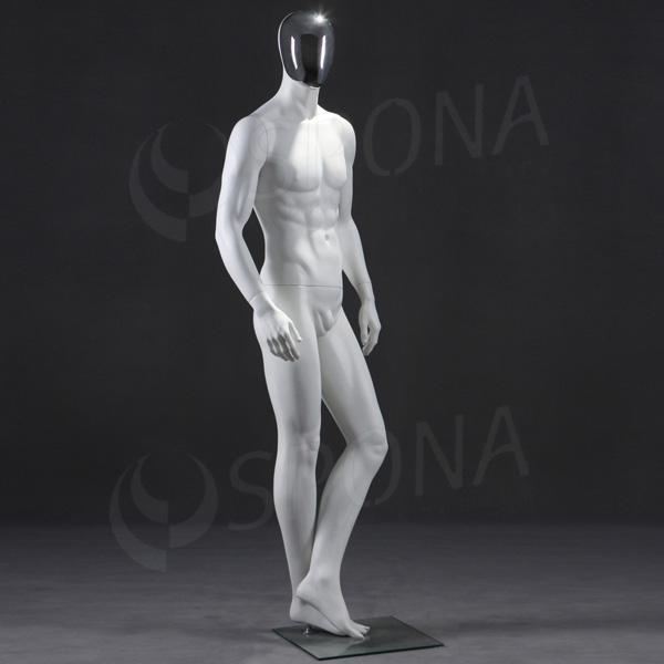 Figurína pánska CHROM 301, matná biela, maska chróm