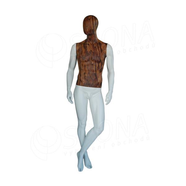 Figurína pánska WOOD 311, matná biela, drevený dekor