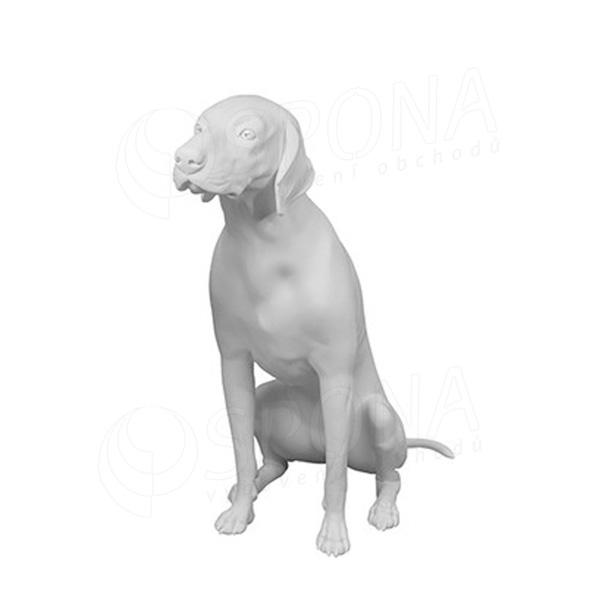 Figurína - pes sediaci, biela farba