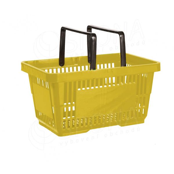 Košík nákupný, s dvomi rúčkami žltý plast