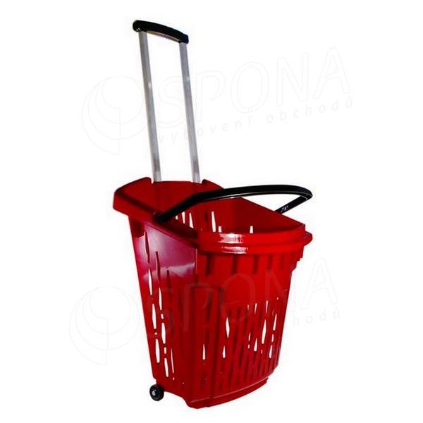 Košík nákupný na kolieskach, objem 38 l, červený plast