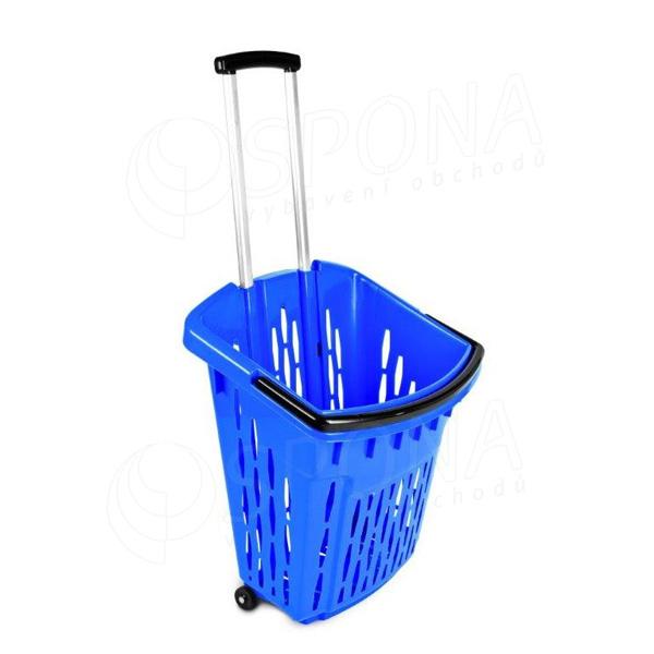Košík nákupný na kolieskach, objem 38 l, modrý plast