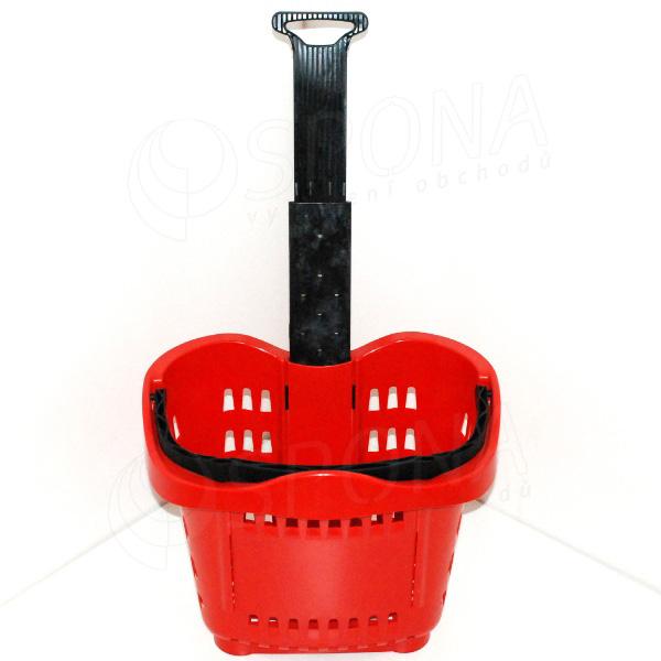Košík nákupný na kolieskach, objem 43 L, červený plast