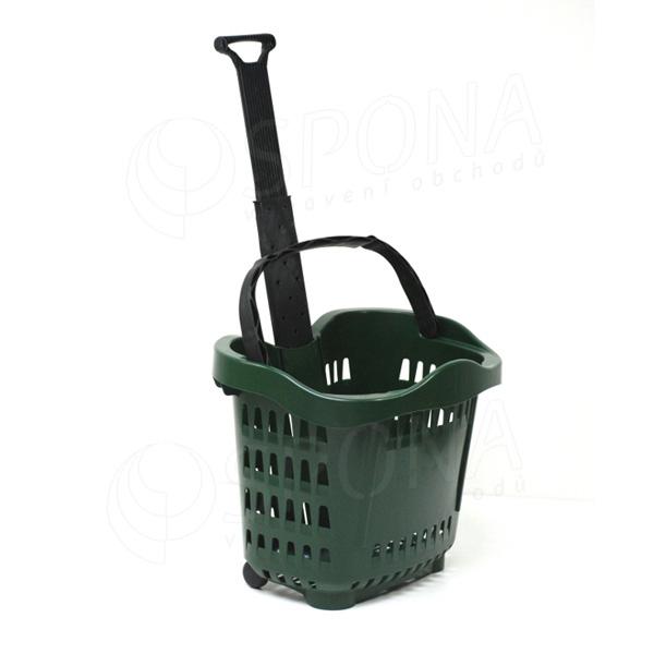 Košík nákupný na kolieskach, objem 43 L, zelený plast