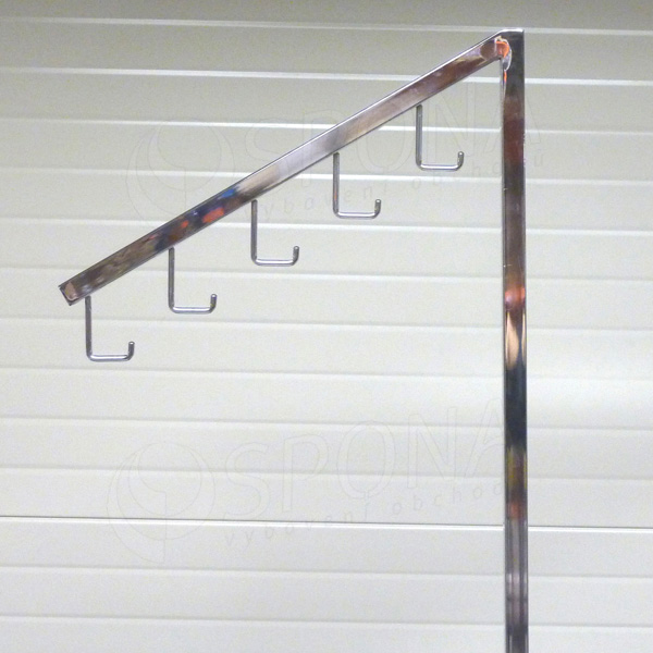 Štender PROFILINE rameno šikmé 5 J-háčkov, 45 cm, chróm