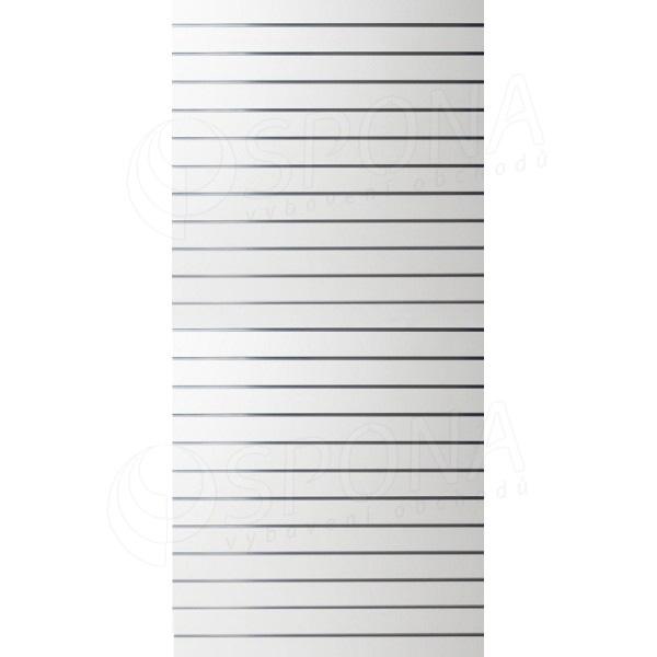 SLAT panel 120 x 240 cm, 23 drážok v rozostupe 10 cm, bez insertov, biely