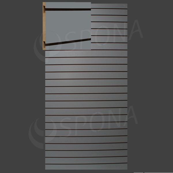 SLAT panel 120 x 240 cm, 23 drážok v rozostupe 10 cm, bez insertov, svetlo šedý