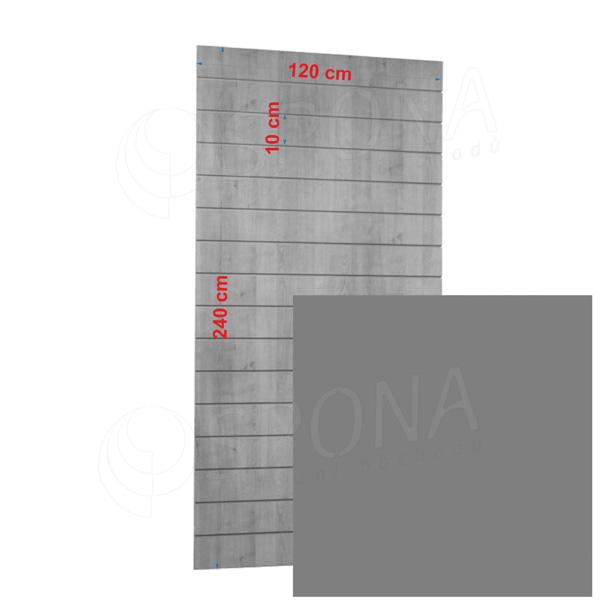 SLAT panel 120 x 240 cm, 23 drážok v rozostupe 10 cm, bez insertov, strieborný