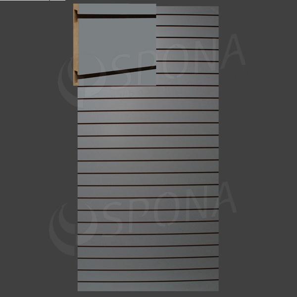 SLAT ART panel 120 x 240 cm, 23 drážok v rozostupe 10 cm, bez insertov, šedý (grigio)
