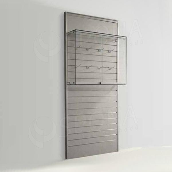 SLAT vitrína závesná, 900 x 800 x 250 mm, temperované sklo