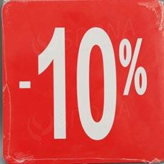 Visačky SKONTO ŠTVOREC 240, -10%, červené, 10 ks