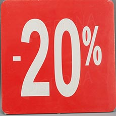 Visačky SKONTO ŠTVOREC 240, -20%, červené, 10 ks