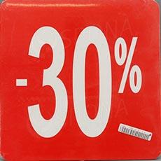 Visačky SKONTO ŠTVOREC 240, -30%, červené, 10 ks