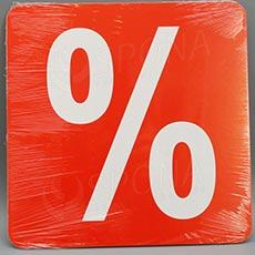 Visačky SKONTO ŠTVOREC 240, PROCENTO %, červené, 10 ks