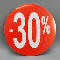 Visačky SKONTO KRUH 240, -30%, červené, 10 ks