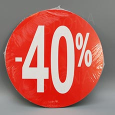 Visačky SKONTO KRUH 240, -40%, červené, 10 ks