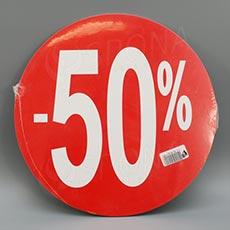 Visačky SKONTO KRUH 240, -50%, červené, 10 ks