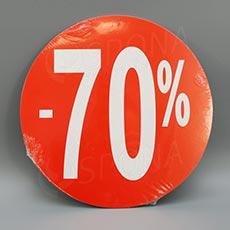 Visačky SKONTO KRUH 240, -70%, červené, 10 ks