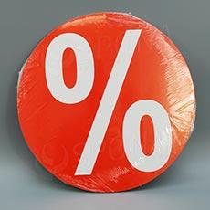 Visačky SKONTO KRUH 240, PROCENTO %, červené, 10 ks