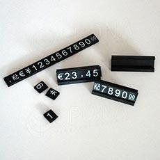 Cenovky Q 6, 8 x 12 mm, sada 280 znakov, 20 stojančekov, biely prelis