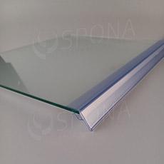 Cenovková lišta na policu o hrúbke 5 až 10 mm, výška 26 mm, dĺžka 997 mm, transparentná