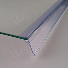 Cenovková lišta na policu 5-10 mm, 60 mm x 998 mm, sklon 15 °, transparentná