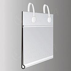 Cenovková lišta 40 x 70 mm závesná s úchytmi, transparentná