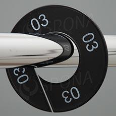 Veľkostné kruhy 03 čierne, biele písmo