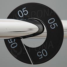 Veľkostné kruhy 05 čierne, biele písmo