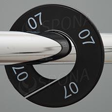 Veľkostné kruhy 07 čierne, biele písmo