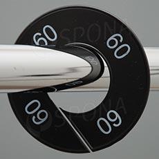 Veľkostné kruhy 09 čierne, biele písmo