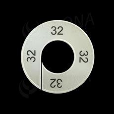 Veľkostné kruhy 32 biele, čierne písmo