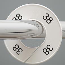 Veľkostné kruhy 38 biele, čierne písmo
