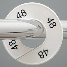 Veľkostné kruhy 48 biele, čierne písmo