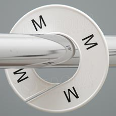 Veľkostné kruhy M biele, čierne písmo