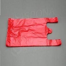 Mikroténová taška HDPE, nosnosť 10 kg, červená, 30 + 16 x 50 cm, 100 ks