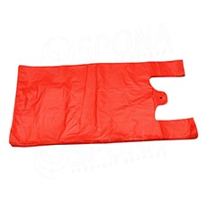 Mikroténová taška HDPE, nosnosť 4 kg, 25 + 2x6x45 cm, červená, 100 ks