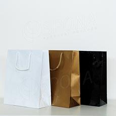 Taška papierová LAMINO 22x10x27 cm, čierna lesklá