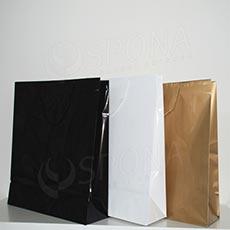 Taška papierová LAMINO 35x13x31 cm, čierna lesklá