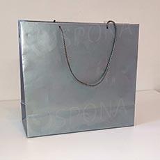 Taška papierová LAMINO 35x13x31 cm, strieborná lesklá