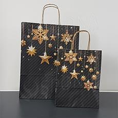 Taška papierová STARS, 32+13x41 cm, vianočný vzor