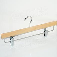Vešiak drevený BT nohavicový, priečka so štipcami, 34 cm